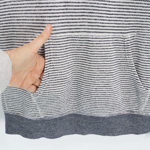 J. Crew Tops - J Crew Grey Striped Pullover Hoodie Sweatshirt
